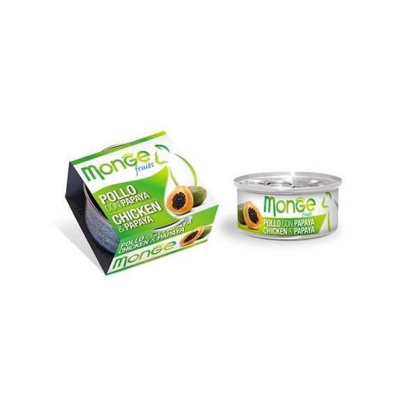 Monge Fruits Chicken & Papaya 80 g - konservi kaķiem