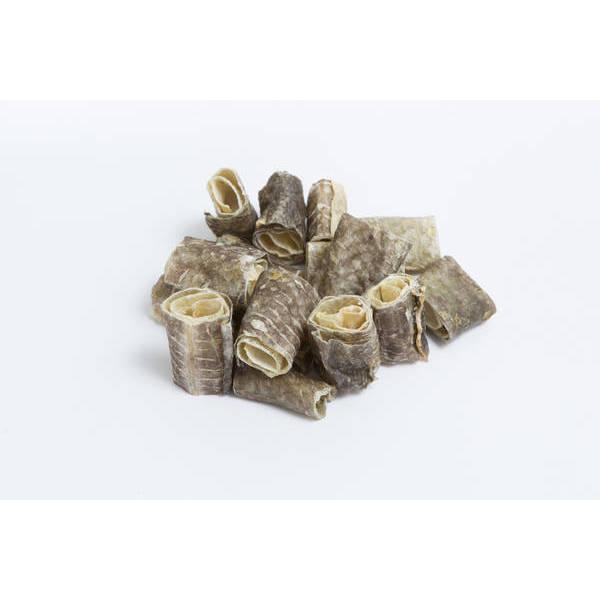 Kaltētas mencu ādas ROLLO 70 g - papildbarība suņiem/kaķiem